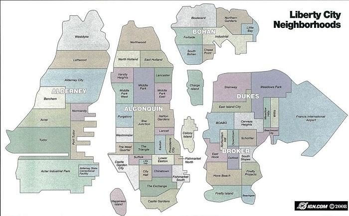 Карта районов Либерти Сити